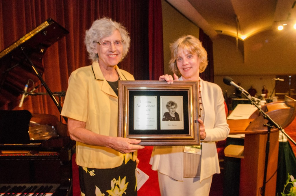 CHILD President receives award from FFRF Co-President Annie Laurie Gaylor.